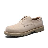新款秋冬季男鞋英伦沙色厚底舒适透气耐磨防滑手工时尚休闲工装鞋 黄沙