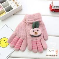 4-7-10岁儿童五指手套秋冬季卡通手指头男童保暖针织手套女童分指xx