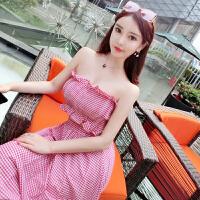 201808260132232152018夏装新款韩版度假弹力格子无袖抹胸性感上衣+大摆长裙套装女 80-120斤都可