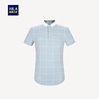 HLA/海澜之家雅致格纹短袖T恤2018夏季新品舒适短袖POLO男