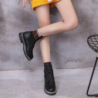 【每满150-50】乌龟先森 靴子 女士毛线系带拼色圆头休闲鞋冬季新款韩版女式时尚休闲舒适百搭学生马丁靴