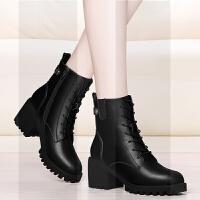 马丁靴女2018新款鞋子女冬粗跟短靴中跟加绒英伦风百搭短筒靴子女SN9065 63黑色