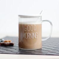 原味主义玻璃茶杯简约 带把水杯有盖勺马克杯早安杯GOOD MORNING