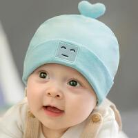 秋冬婴儿帽子0-3个月新生儿6薄款初生婴幼儿男女宝宝套头胎帽 天蓝色 (单帽) 均码