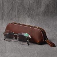 复古手工头层牛皮笔盒疯马皮拉链笔袋简约真皮文具钢笔皮套眼镜盒
