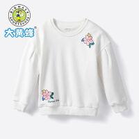 【2件4折价:71.2元】大黄蜂童装 女童卫衣儿童加绒长袖2019新款小女孩韩版可爱上衣潮