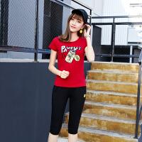 运动套装女夏季时尚休闲服短袖七分裤韩版宽松时尚潮新款夏天薄款修身两件套2018 红色 M-女士(建议80-98斤)