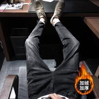 牛仔裤男秋季冬款修身黑色男士小脚裤子男韩版潮流休闲加绒九分 加绒黑色-6