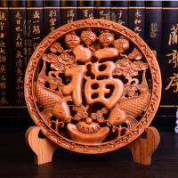 桃木木雕摆件实木雕刻工艺礼品福字挂件圆盘摆件