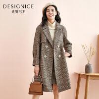 格子毛呢外套女中长款迪赛尼斯2019冬季新款双排扣西装领时尚大衣