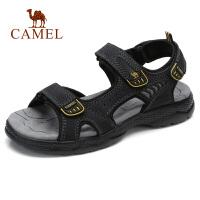 camel 骆驼男凉鞋夏季新款牛皮缓震凉鞋男日常休闲柔软沙滩鞋