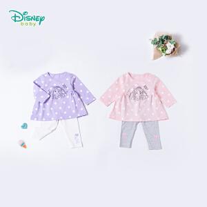 迪士尼Disney童装女童套装春季新品波点娃娃衣宝宝肩开扣索菲亚公主休闲上衣裤子181T774