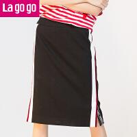 Lagogo2017年夏秋季新款黑色高腰条纹休闲百搭半身裙女开叉中裙