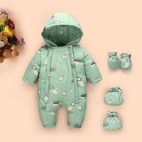 婴儿羽绒服连体衣男宝宝女新生儿1-3岁0-1爬服连体外出服儿童抱衣