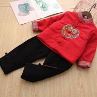 冬季新款中国风男童加厚唐装二件套男孩子经典盘龙古风古装民族风 红色 套装