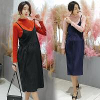 潮妈春秋套装孕妇套装新款2018韩版春装两件套吊带裙