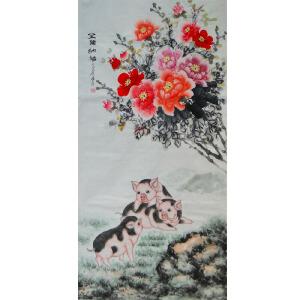 现代画家  杨丽  金猪纳福  *
