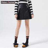 【1件2折到手价:39.8】美特斯邦威半身裙女冬装韩版chic时尚A字裙学院风个性短裙子学生