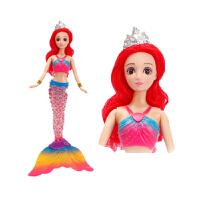 美人鱼玩具套装人鱼公主女孩音乐发光洋娃娃新年礼物 音乐七彩美人鱼