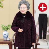№【2019新款】送中老年人的女装秋冬装毛呢外套妈妈衣服加厚奶奶装中长款羊剪绒大衣