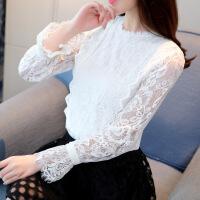 2018春装新款韩版女装蕾丝雪纺衫长袖打底衫