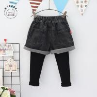 韩版童装女童冬季新款儿童百搭加绒加厚假2件短裤牛仔裤A7-T22