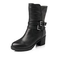 BASTO/百思图冬季专柜同款牛皮女靴TIF62DZ5