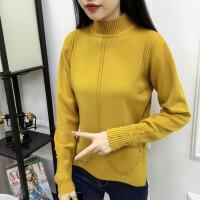 秋冬装新款加厚纯色半高领时尚钉珠毛衣下摆开叉套头针织女打底衫