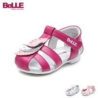 百丽Belle童鞋2018新款女童凉鞋创意时尚婴幼童学步鞋包头护趾宝宝时装凉鞋(0-4岁可选) DE5939
