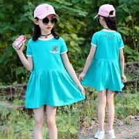 女童裙子夏装新款童装中大童韩版休闲裙子儿童刺绣针织连衣裙