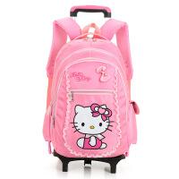 韩版小学生拉杆书包粉色凯蒂猫双肩背包儿童减负书包闪光轮女托运包大容量旅游午餐包