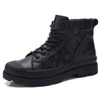 男鞋秋冬季英伦工装鞋大头休闲皮鞋大码45橡胶底鞋子马丁鞋男46码 黑色单色