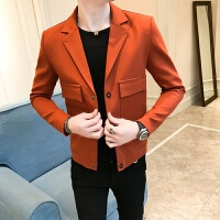 春季新款青年时尚潮流夹克男纯色外套修身发型师西服领夹克衫