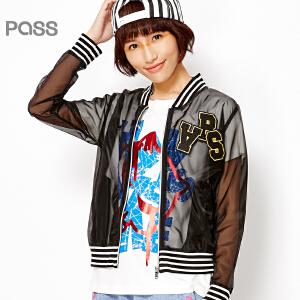 PASS女装春装新款 立领长袖条纹拼接透视网纱性感棒球服外套6611412013