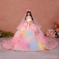 ?芭芘仿真娃娃白雪公主婚纱夜萝莉套装礼盒超大90厘米裙摆女孩儿童? 收藏送
