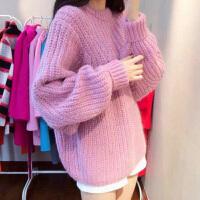 施衣品2016秋冬季毛衣女套头宽松版加厚圆领淑女保暖针织衫