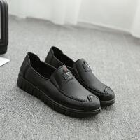 必胜客工作鞋平底加厚底软皮平跟舒服上班鞋妈妈鞋中老年女单皮鞋 黑色