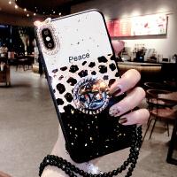 豹纹三星s9手机壳女款潮牌s8滴胶水钻plus个性创意s10日韩m10全包边m20时尚三星note8