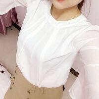 夏季女装韩版宽松百搭短袖荷叶边喇叭袖柔美雪纺衫女超仙显瘦上衣