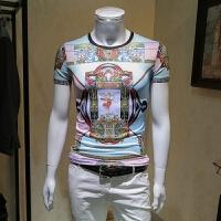 男士短袖t恤男2018夏季新款冰丝韩版潮流个性印花半袖男潮修身款 花色 M