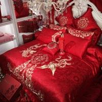 绣花婚庆四件套大红结婚床上用品贡缎提花棉床单新婚刺绣床品