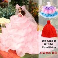 会说话的婚纱娃娃礼盒大厘米单个仿真洋娃娃玩具女孩公主儿童礼物 卷边拖尾 粉色(加2件礼服) 音乐款 礼袋装 收藏送3小