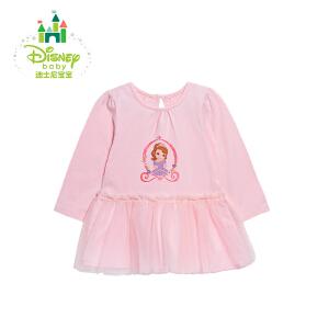 迪士尼Disney童装 女童T恤春秋女宝宝拼接上衣纯棉长袖网纱拼接休闲打底衫171S906