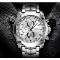 CURREN 卡瑞恩8025 小表盘防水石英腕表 男士商务休闲合金手表