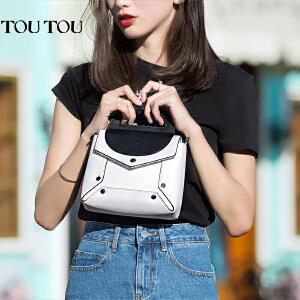 TOUTOU2017夏季新款黑白拼接撞色包包女韩版百搭斜挎包单肩链条包