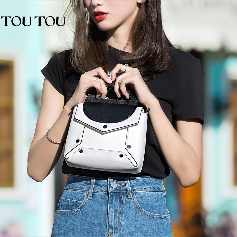 TOUTOU2017夏季新款黑白拼接撞色包包女韩版百搭斜挎包单肩链条包经典黑白配,简约正时尚!
