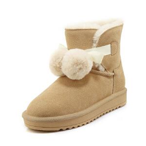 WARORWAR 2019新品YG29-S18-X21冬季欧美磨砂反绒牛皮真皮皮毛一体低底舒适女鞋潮流时尚潮鞋百搭潮牌雪地靴