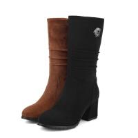 高跟中筒靴磨砂皮马丁短靴小码黑色侧拉链粗跟裸靴冬秋冬大码女靴软底
