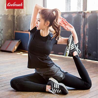 【新春惊喜价】Coolmuch女士速干透气修身显瘦运动健身跑步T恤长裤两件套装RE18010T2 全场3折封顶【折上领券再享满减】