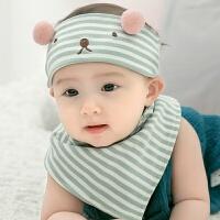 婴儿空顶帽薄款宝宝帽子春夏季新生儿空顶帽韩版潮婴儿胎帽初生儿童帽男女孩 薄荷色 帽子加三角巾 均码
